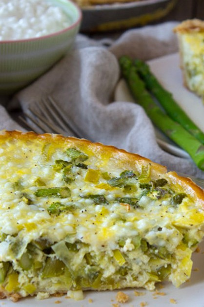 Asparagus and Leek Quiche on plate