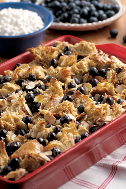 baked blueberry French toast in pan