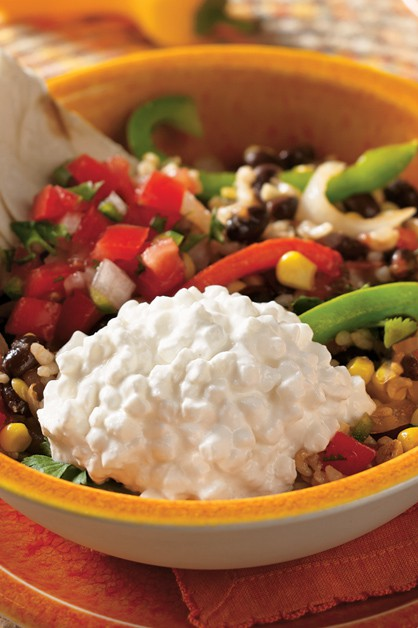 Black Bean and Rice Cottage Cheese Burrito Bowl