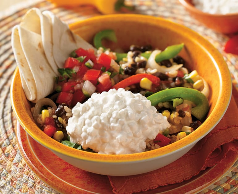 Click to open Black Bean, Rice and Cheese Burrito Bowl recipe