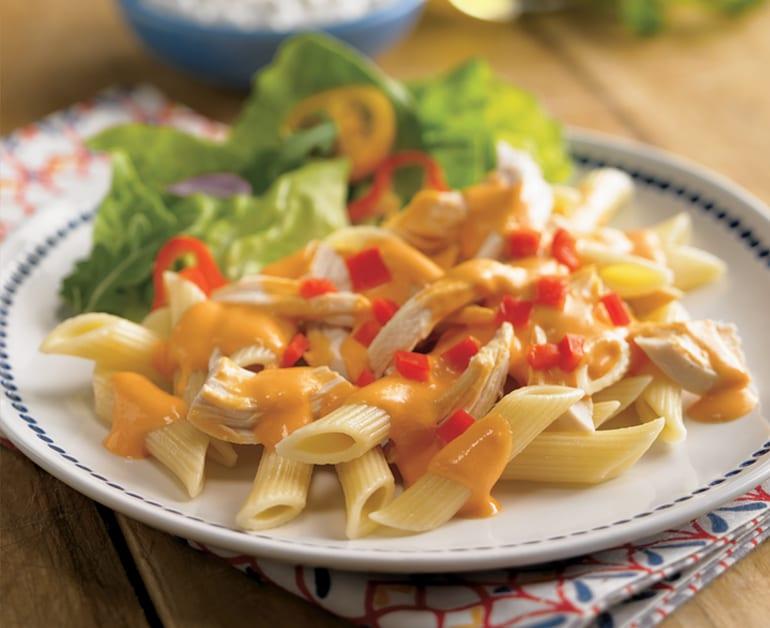 Chicken Pasta in Roasted Red Pepper Sauce slider image 1