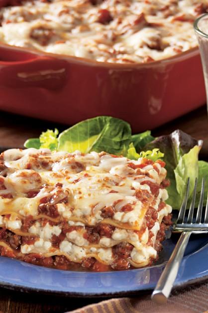 Easy Cheesy Lasagna slice on plate