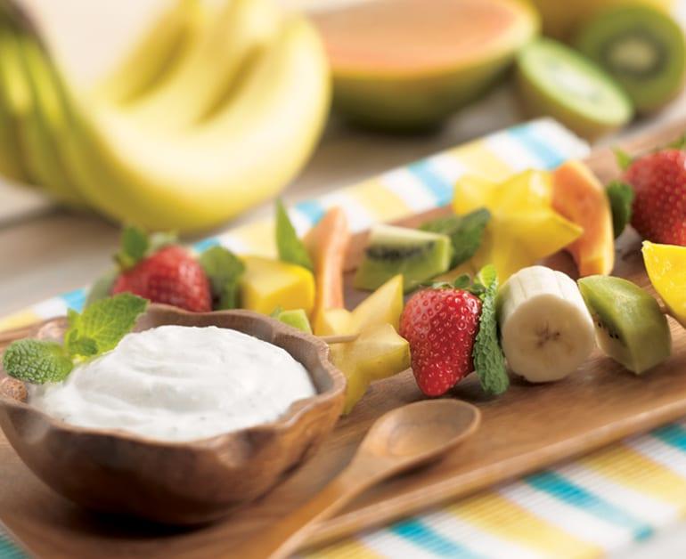 Fresh Tropical Fruit Kabobs with Mint Dip slider image 1
