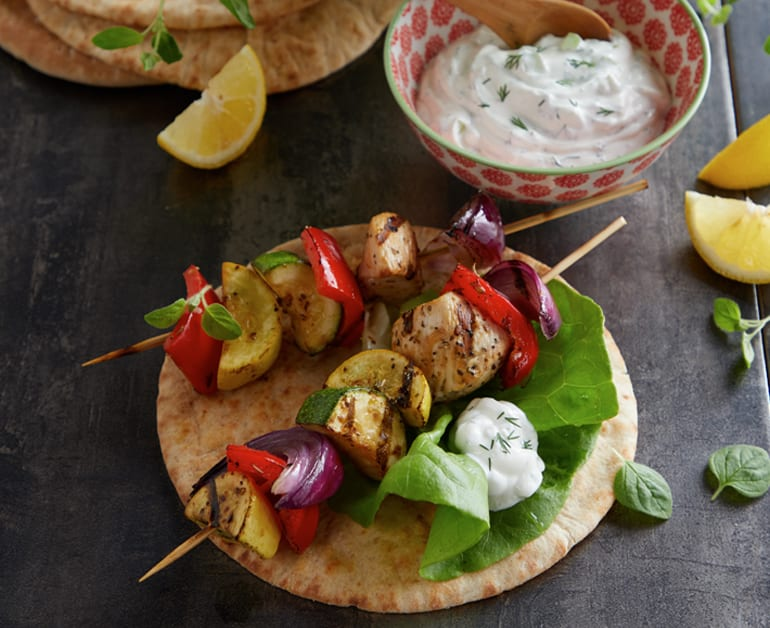 Greek Lemon Chicken Skewers with Tzatziki Sauce slider image 1