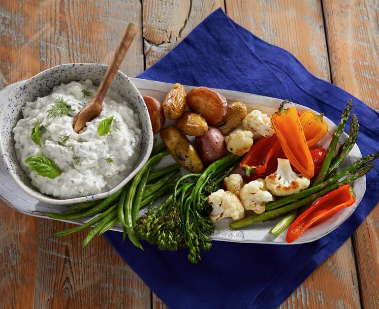 Click to open Roasted Veggies with Herb Dipping Sauce recipe