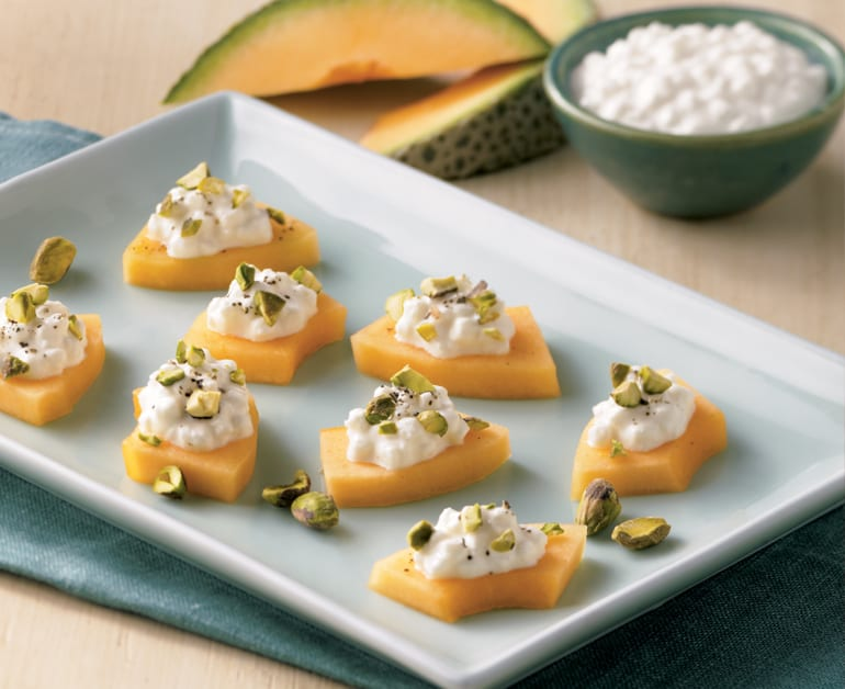 View recommended Melon and Cheese Canapés recipe