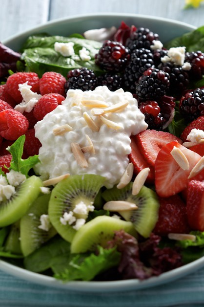 Berry Salad in bowl with Cottage Cheese