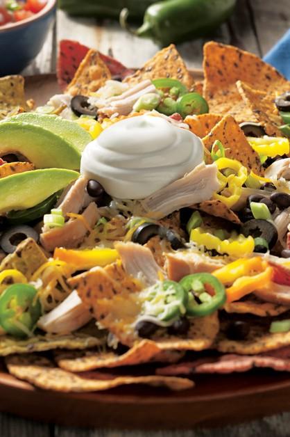 nachos de pollo con crema agria