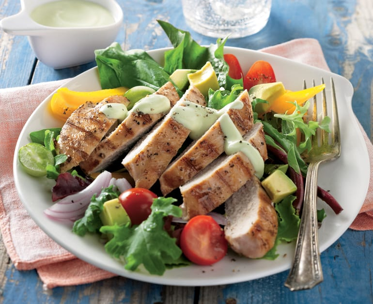 Grilled Chicken Salad with Creamy Avocado Dressing slider image 1