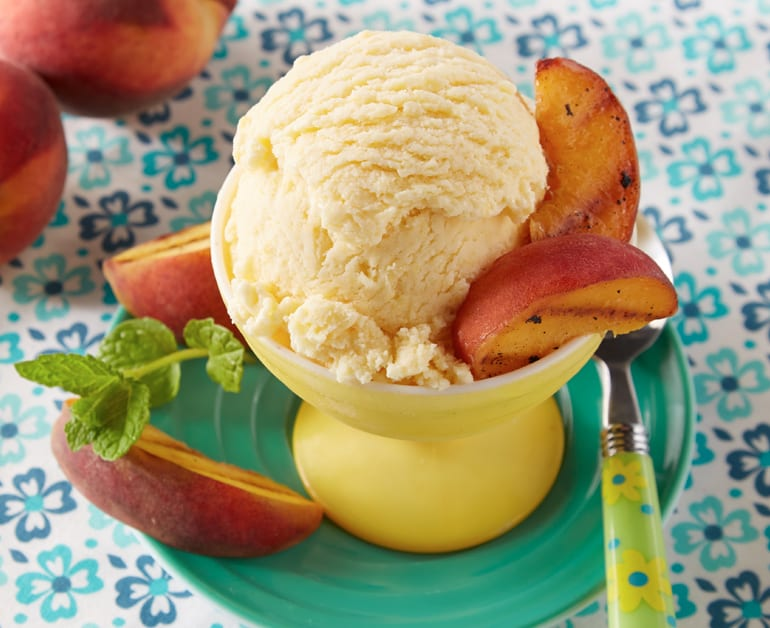 Peach Ice Cream with Grilled Peaches slider image 1
