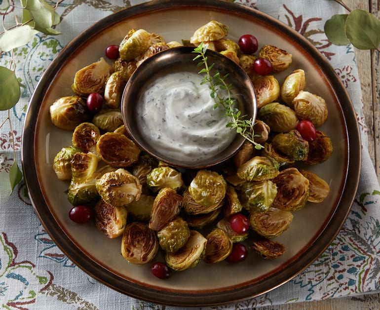 Click to open Roasted Brussels Sprouts with Creamy Dip recipe