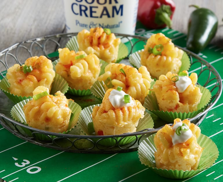 Click to open Spicy Mini Mac and Cheese Bites recipe