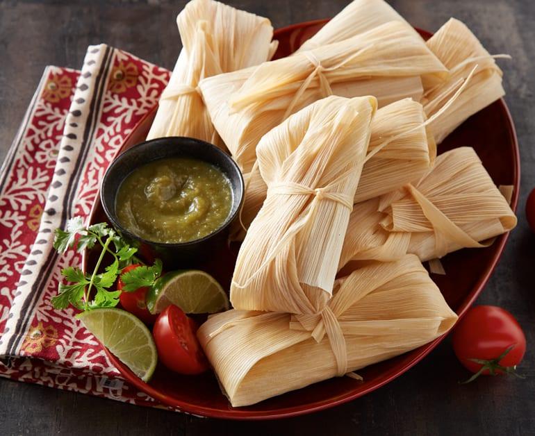 Click to open Chicken Tamales with Tomatillo Salsa recipe