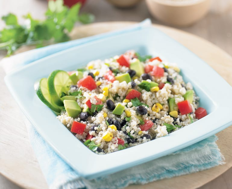tex mex quinoa salad in bowl