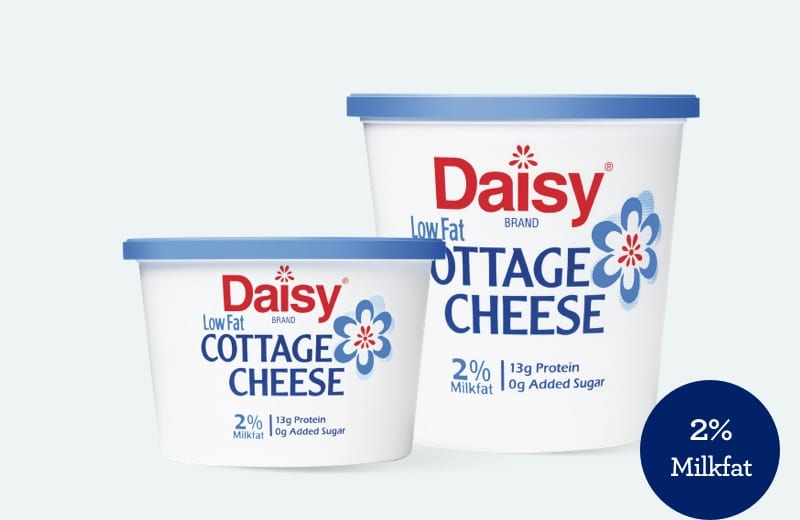 Low fat cottage cheese with 2% milkfat