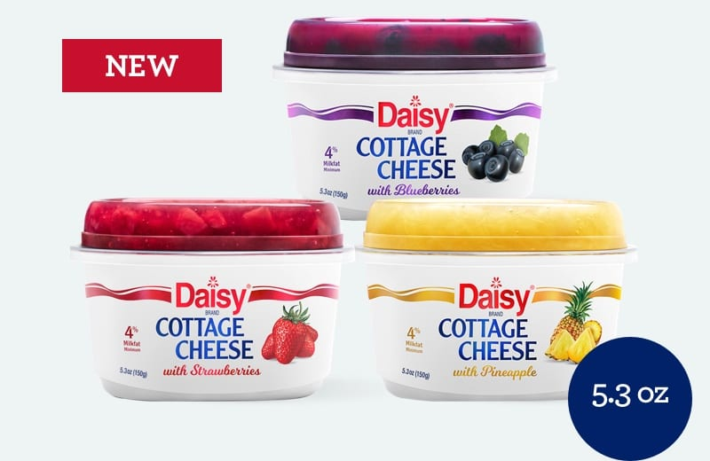 New 5.3 ounce cottage cheese with blueberries, strawberries, or pineapple
